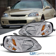 Fit 99-00 Honda Civic Clear Lens Headlights Head Lights Lamps Left+Right Pair