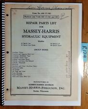 Massey Harris Ferguson Hydraulic Equip 44 Tractor Repair Parts List Manual 7/55