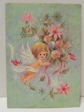 Vtg Hawthorne-Sommerfield Christmas Card-Floating Angel Birds & Pink Flowers