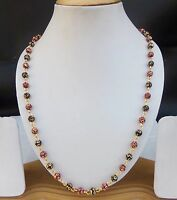 Ethnic Indian Women Fashion Jewelry Mala Golden Long Beaded Chain Necklace 24""