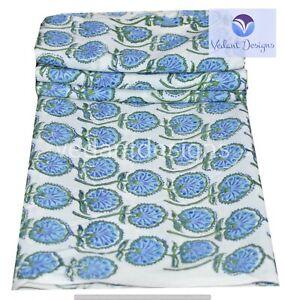 Block Print Indian Hand Running 100% Cotton Green Fabric 5 Yard