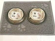 2x15cm CAT KITTEN DOG BOWL STAINLESS DOUBLE NON SLIP MAT FOOD/WATER PET FEEDING