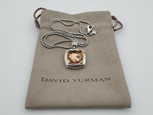 David Yurman 17mm Albion Pendant Necklace with Morganite 18 in Chain