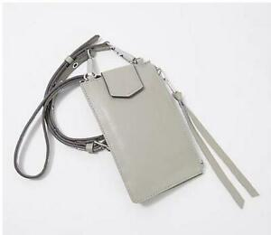 Aimee Kestenberg Leather Phone Crossbody w/ RFID Elephant Grey