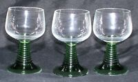 3 Vintage German Wine Goblets Roemer Green Beehive Ribbed Stem 5 oz Clear Bowl