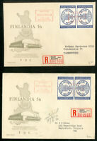 Finland 1956 Registered FDC's with Cadut Label Lot of 2