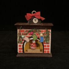 Vintage Kurt S Adler Wood Fireplace Mantle Santa Christmas Ornament Decoration