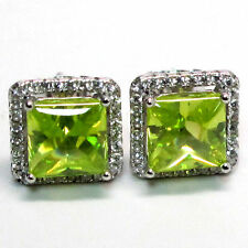 Hot Fashion Emerald 925 Sterling Silver Stud Earrings Wedding Engagement Jewelry