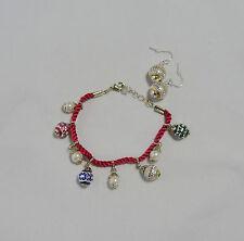 Avon Ornament Charm Bracelet & Goldtone Ornament Earrings Hard to Find.
