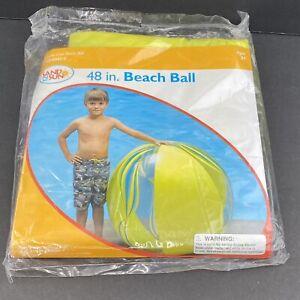 "Vintage 48"" Jumbo Sand N Sun Inflatable Beach Ball Transparent Yellow And Blue"