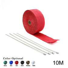 "2"" 33Ft Roll Red Fiberglass Exhaust Header Pipe Heat Wrap Tape + 4 Ties Kit 10M"