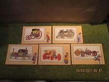 """Tintin Collection Voir et Savoir par Hergé  lot de 5 timbres Tintin"""" Automobiles"""