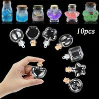 10Pcs Mini Glass Wish Bottles With Cork Stopper Vial Pendant Tiny Wishing Bottle