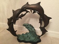 "Sf Bay Trading Company School Of Dolphins Statue Brass / Bronze On Wave 21""X 24"""