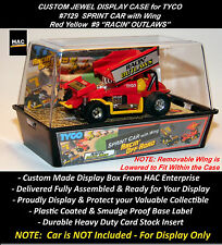 Custom Display Case: TYCO RACIN' OUTLAW Sprint Car w Wing #7129   (Red Yellow)