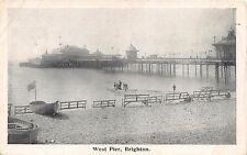 BRIGHTON SUSSEX UK WEST PIER~BOAT WITH FLAG~ POSTCARD 1909 PMK