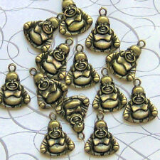 6 Buddha Charms Antique Bronze Tone 3D Just Adorable - BC181