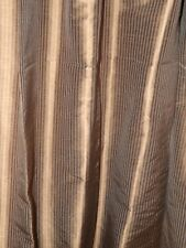 5 Panels Brown Striped Silk Restoration Hardware Curtains Used Preowned- 48x95