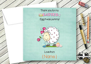 QUALITY PERSONALISED EASTER THANK YOU CARDS SHEEP & EGGS SON DAUGHTER NIECE