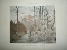 Gravure 19° 1899 couleur Peinture E. Berton La route Eugénie forêt Fontainebleau