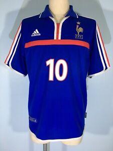 VINTAGE ADIDAS FRANCE EURO 2002 ZIDANE HOME FOOTBALL SHIRT SOCCER JERSEY M