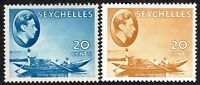 Seychelles1938 blue 20c brown-ochre 20c chalk-paper multi-script mint SG140/140a