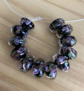 12 BLACK WITH PINK FLOWER  RONDELLE  glass lamp work 12mm Beads- DIY Jewelry