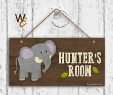 Elephant Sign, Woodland Personalized Sign, Kid's Name, Kids Door Sign, 5x10 Sign