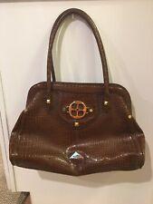 IMAN Women's Brown Croc Faux Leather Handbag Satchel Large Size Bag