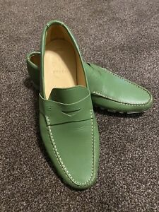 New Mens Bally Driving Shoes Moccasin Lofar Casual Size UK 9.5E Green RRP £350