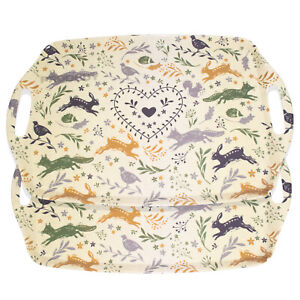 Set of 2 Melamine Serving Trays with Handles Fox Hare Animals TV Dinner Drinks
