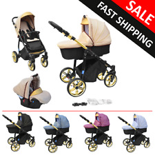 Baby Pram Complete Travel System Pushchair 3in1 Car Seat Carrycot Buggy Newborn