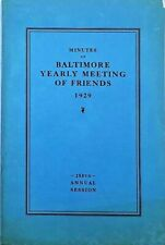 1929 Minutes of Baltimore Meeting of Friends Booklet (Quakers) NAMES IN LISTING!