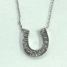 Estate Jewelry 14k White Gold Diamond Horseshoe Pendant Chain Necklace