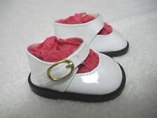 """Fits 18"""" Tiny Tears Doll...White Patent Leather Mary Jane Doll Shoes ...D1528"""