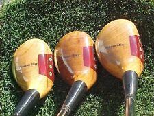 Left Hand LH PERSIMMON Powerbilt Golf Clubs set Woods 3 4 5 w S Flex & New Grips
