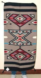 """Throw Rug / Tapestry Southwestern Thick & Durable Hand Woven Wool 32x64""""  213"""