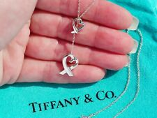 Tiffany & Co Paloma Picasso Sterling Silver Double Loving Heart Lariat Necklace