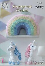 King Cole Crochet Pattern For Unicorn and Rainbow Cushion - 9068