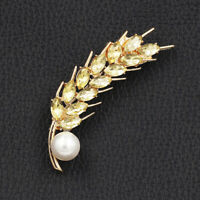 Betsey Johnson Yellow Crystal Pearl Wheatear Charm Brooch Pin Jewelry Gift