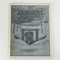 1927 Sargent Snowplows Sales Catalog Brochure Union Iron Works Truck Accessories