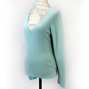 Caslon 2-Ply 100% Cashmere Soft Knit Aquamarine V-Neck Sweater Medium