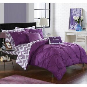 Purple White Pintuck Pleat Chevron #Happy 9pc Comforter Set Twin XL Full Bedding