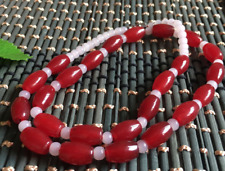 "8x12mm Natural Red Jade Rice Necklace 19 ""AAA"