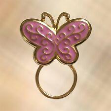 NEW Pink & Gold Butterfly Eye Glasses Sunglasses Hanger Brooch Pin Holder