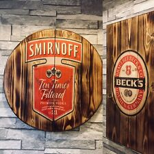 Glenfiddich style plaque wooden sign  mancave shed bar pub barrel top style
