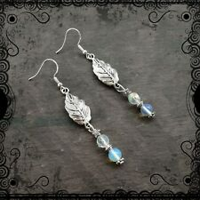 Frosted leaf dangle earrings, ice, snow, Winter Solstice, goddess, pagan, nature