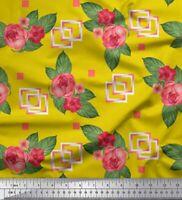 Soimoi Stoff Quadrat, Blätter & Magnolie Blumen-Stoff 1 Meter bedrucken-FL-1321J