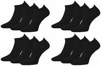 12 Pairs Mens Plain Black Prohike Performance Cotton Trainer Socks, Size 6-11