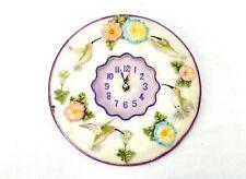 "Hummingbird 3D Wall Clock, Polystone 8"" Round ~ Kitchen, Nursery, Bedroom, Patio"